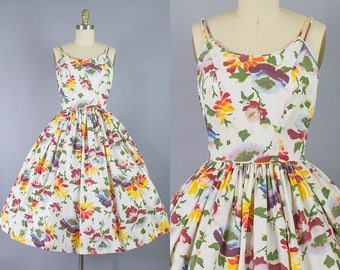 1950s Floral Sundress/ 50s Watercolor flower cotton dress/ XS/S (33b/25w)