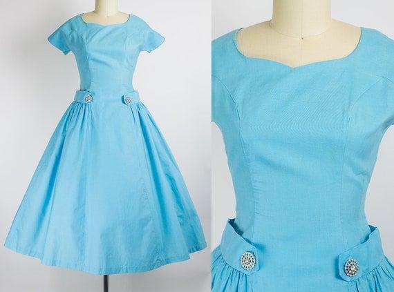 1950s Cerulean Cotton Drop Waist Dress   Small (35B/26W)