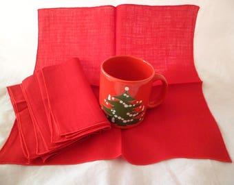 "Vintage Mid Century Bucilla Christmas 4 Red Cloth Napkins 13 1/2 x 14"" Cotton Nylon Blend Unused"