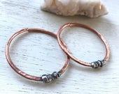 8g copper hoop earrings / ear weights