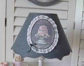 Lampshade double brace anthracite grey linen damask - greed and lace Medallion