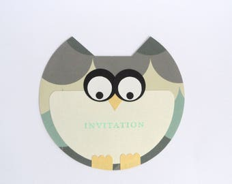 6 cards or invitation cards in the shape of OWL for a child - boy birthday