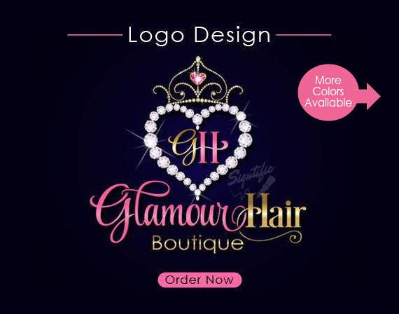 Hair Boutique Logo Design, Diamond Heart Hair Extensions Logo, Bling Logo Design, Hair Business Logo with Diamond Frame, Virgin Hair Logo