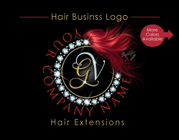 Hair Extensions Business Logo, Circular Diamond Bling Logo, Glitter Bling Logo, Custom Strands Logo, Hair Bundle Logo, Hair Packaging Logo