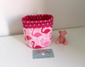 Storage basket, reversible, cotton, pink flamingos