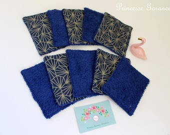 10 Blue/Gold origami and Terry cotton washable wipes
