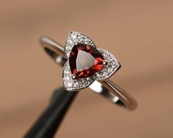 natural garnet ring wedding anniversary ring trillion cut sterling silver ring red gemstone ring January birthstone ring