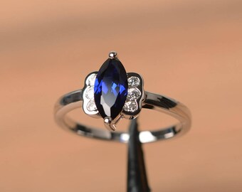 proposal ring blue sapphire ring September birthstone marquise cut blue gemstone sterling silver ring