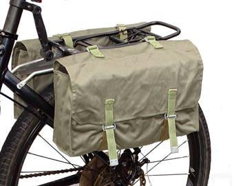 1970s grey canvas pannier bags ex-army vintage bicycle panniers with detachable shoulder strap shoulder bags pair set of 2 retro