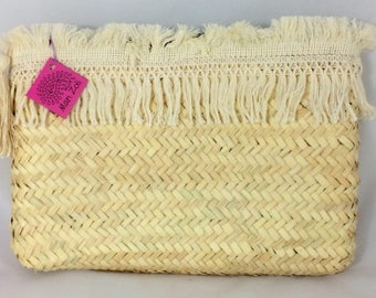Natural Fringe Straw Clutch, Macrame Fringe, Monogram For Free