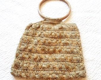 Vintage Boho Macrame Purse - Faux Wood Handles - Ring Handles - Earth Tones - Brown Tan Cream - Festival Fashion - Bohemian Hippie Style