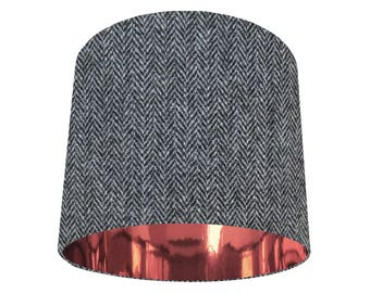 Grey Copper Harris Lampshade Tweed Herringbone