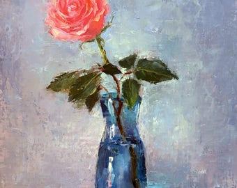 Rose in the vase. Original oil painting on linen