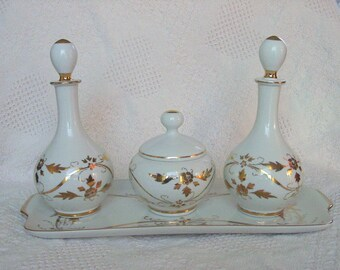 Vintage White w Gold Scroll Japanese Porcelain Vanity Set: Tray w Covrd Powder & 2 Perfume Bottles