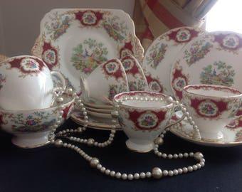 Foley Broadway. Red Pheasant. Bone china tea set