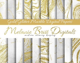 GOLD GLITTER MARBLE, digital paper pack, scrapbook paper, glitter marble, marble gold, marble pattern, marble background, printable paper