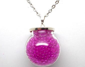 Pink microbead glass globe necklace