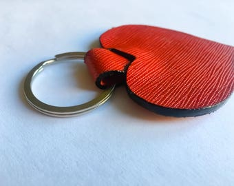 Red Saffiano Leather Heart Keyring