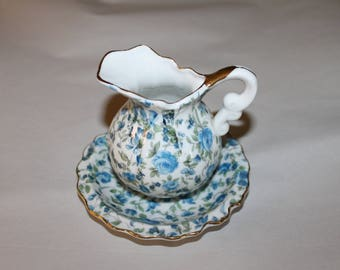 Vintage Royal Chintz Pattern 2179, with Crown, Beautiful Blue and Creme Colors and Gold Edging, Small Pitcher and Matching Bowl, China