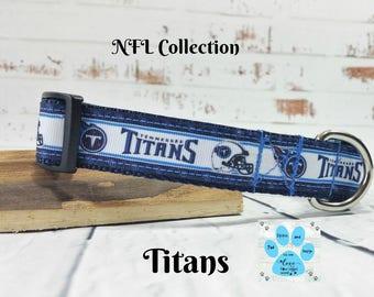 "Titans Dog Collar, 1"" Wide  Dog Collar,  Tennessee Dog Collar, Boy Dog Collar, Adjustable Dog Collar, Pet Collar,"