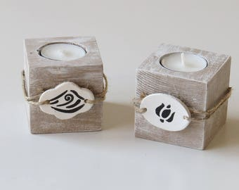 Set of two tealight wooden candle holders Recovery