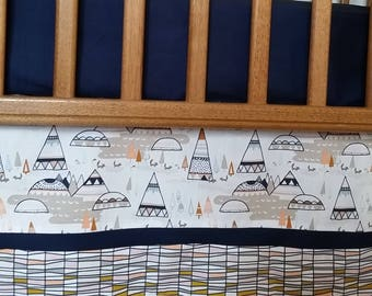 Crib Skirt with Double Trim-Custom Baby Bedding- Chose your fabric!