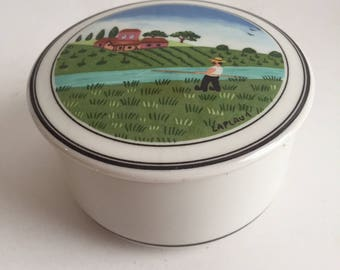 Villeroy & Boch Design Naif Fisherman 3 inch candy trinket box Laplua