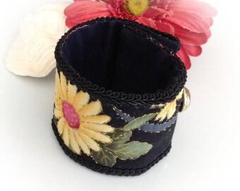 Bracelet, cuff, black, yellow Japanese fabric.