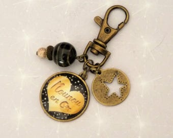Cute purse/Keychain black/gold/bronze with cabochon great nanny heart, Star, beads