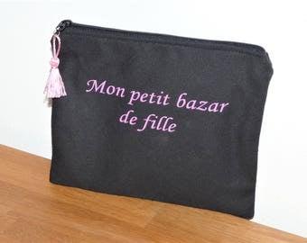 """case message """"Mon Petit Bazar girl"""" - clutch bag/makeup/keys-black/purple"""