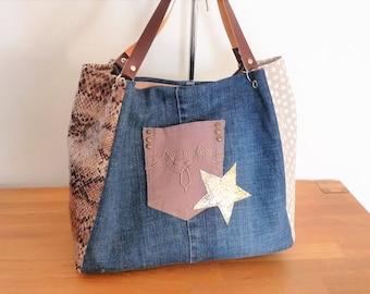 handmade/recycled denim tote bag / Brown/stars beige python snake, Pocket rivets, Star, camel handles