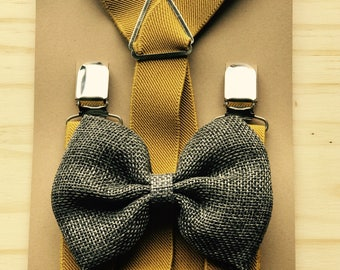 Ring bearer outfits Suspender Bow Tie Set  Groomsmen outfits with suspenders Boys Rustic Wedding outfits Mustard braces & Gray bow tie