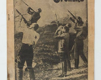 1915 Imperial Russia OGONJOK WW1 war Antique Magazine Russian Submarine in Ice #15