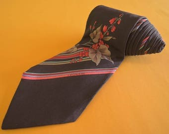 Leonard Tie Paris Pure Silk Floral Stripe Pattern Brown Vintage Designer Dress Necktie Made In Italy