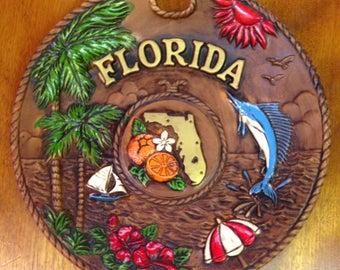 Vintage Florida Souvenir Tray, Bowl, Vintage Tiki, Retro Barware