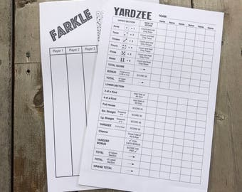 JUMBO 11x17 reusable scorecards - yardzee score card - farkle scorecard