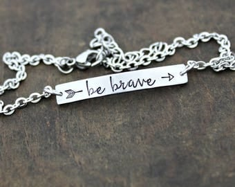 BE BRAVE Hand Stamped Petite Stainless Steel ID Style Bar Bracelet