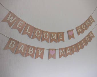 Personalised WELCOME HOME BABY bunting banner - other colours and embellishments available