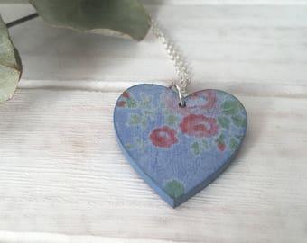 Vannucchi Blue Foral Heart Pendant