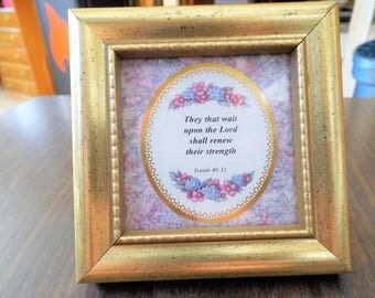 Vintage, Bible Verse, Small Frames, Shadow Box, Gift for Her, Religious, French, Cottage, Christian art, Wood Frames, Isaiah, Floral, Gift