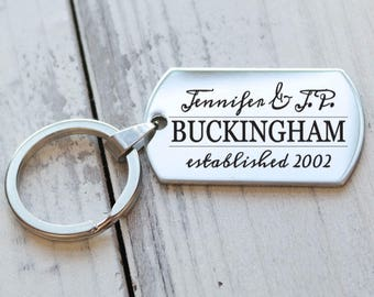 Couples Classic Personalized Key Chain - Engraved