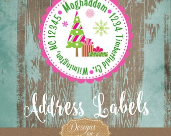 Christmas return address labels, holiday address stickers, gift tags, christmas tags