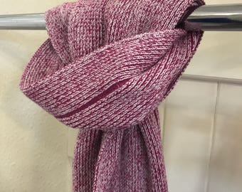 Pink & Cream Glitter knitted scarf - Striped knitted scarf