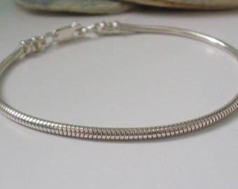 Snake Chain Bracelet, Silver Charm Bracelet, Sterling Silver Bracelet for Women, Bracelet for Men, Gift for Her, Boyfriend Gift, handmade