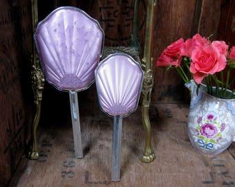 Vintage Vanity Set, Vintage Vanity Mirror, Vintage Hair Brush, Hand Mirror, Dressing Table Set, Lilac Vanity Set, 1960s Vanity Set, Silver
