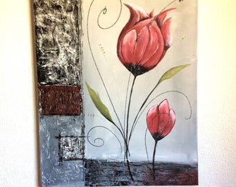 Floral abstract painting: Red tulips
