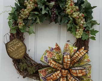 Wine Wreath, Wine Glass Wreath, Vine and Grape Wreath, Wine Lover, Wine Gift, Wine Lovers Wreath, Grape Wreath,