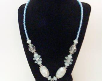Vintage Acrylic Beaded Aqua  Necklace