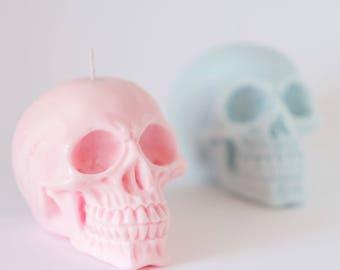 Bougies de pastel tête de mort - lot de deux-100 %-la cire de soja - bougies vegan - idée cadeau / anniversaire / jour des mort / nouveau cadeaux maison / pastel goth