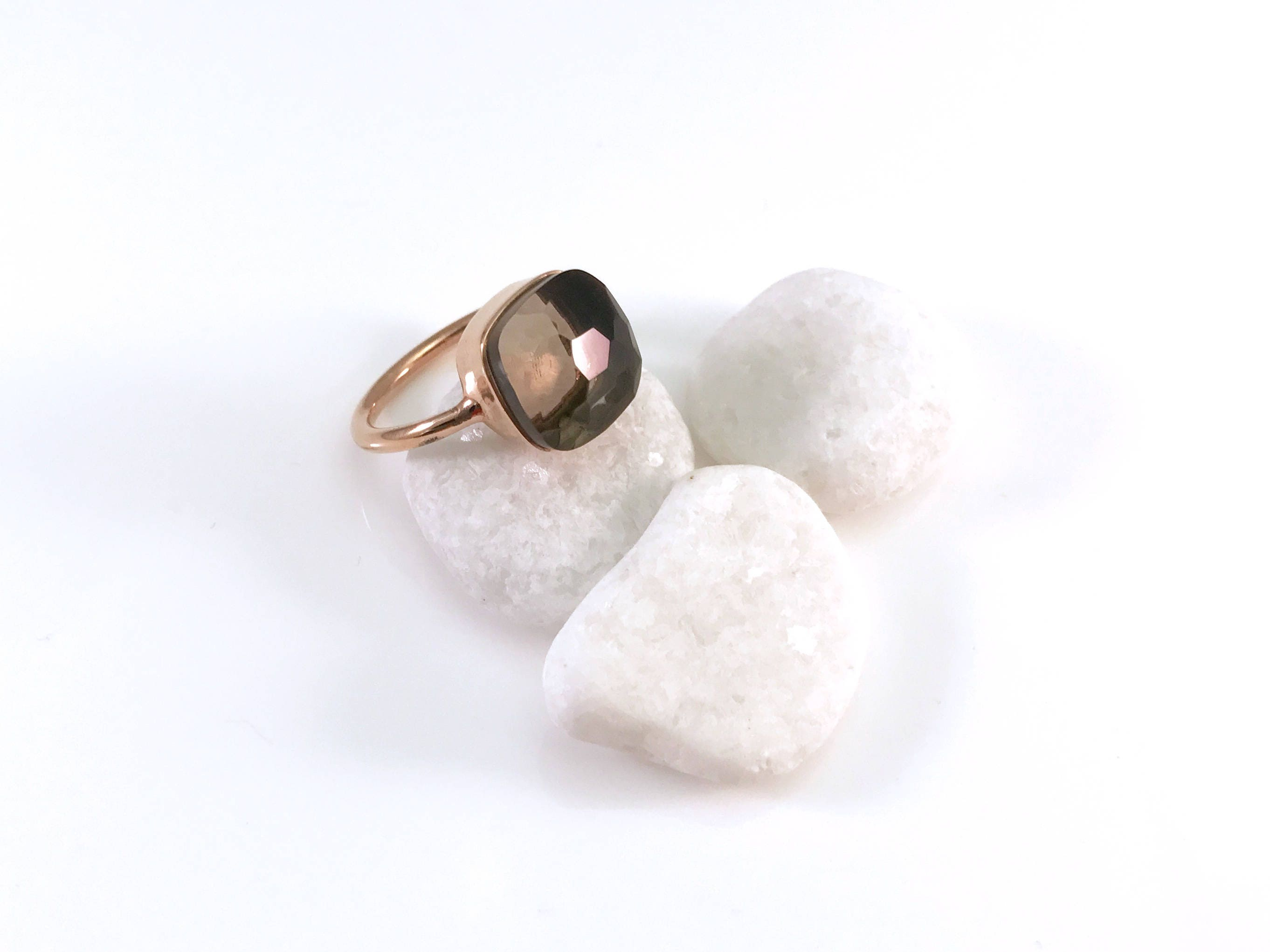 Smoky quartz sterling silver stackable rings and gold stackable rings